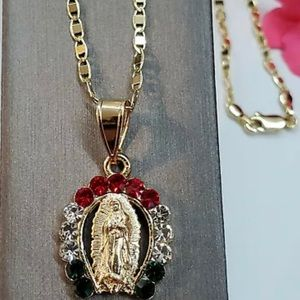 "Our Lady of Guadalupe pendant and 18"" chain."